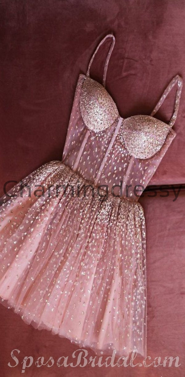 Cute Sparkly Beaded Sweetheart Homecoming Dresses, Lovely Modern Short Prom Dress,BD0412