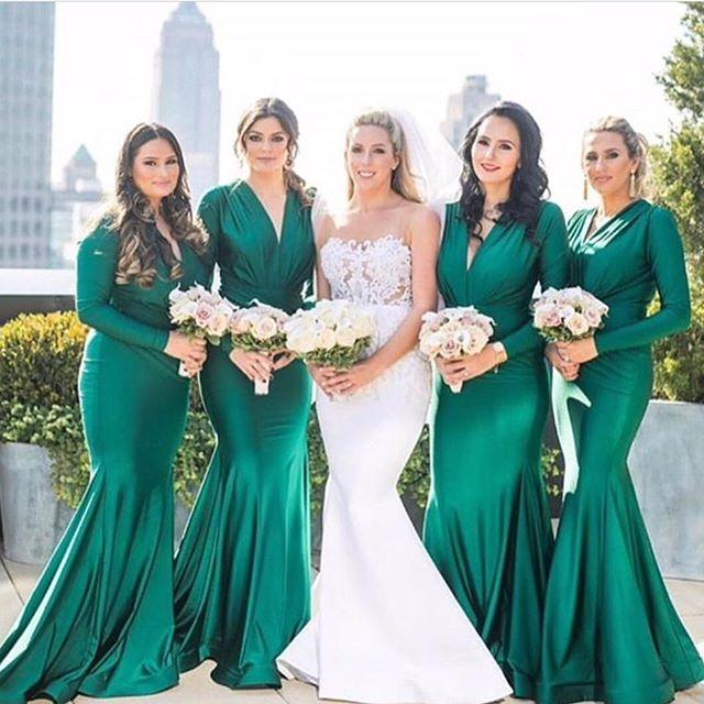 Deep V-Neck Long Sleevees Mermaid CHeap Red Green Bridesmaid Dresses,  PD0890