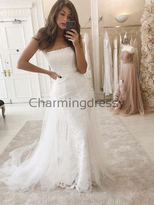 Detachable Unique Lace Strapless Vintage Beach Wedding Dresses WD0455