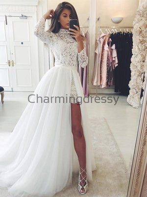 Detachable Unique Lace Vintage Beach Long Sleeves Wedding Dresses WD0456