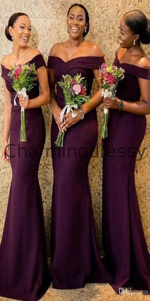 Elegant Off the Shoulder Purple Long Mermaid Bridesmaid Dresses WG714