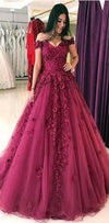 Elegant Ball Gown,Quinceanera Tulle  Elegant Appliques Off the Shoulder Prom Dresses, PD1087