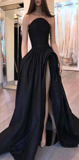 Elegant Black A-Line  Modest Strapless High Quality Hot Sale Prom Dresses,Party Dress, Evening Dress,PD1088