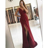 Elegant Long Cheap Smple V-Neck Split-Side Burgundy Chiffon Prom Dresses, PD1230