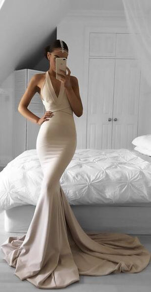 Elegant Long Mermaid V-Neck Criss-Cross Straps Court Train Nude Prom Dresses, PD0865