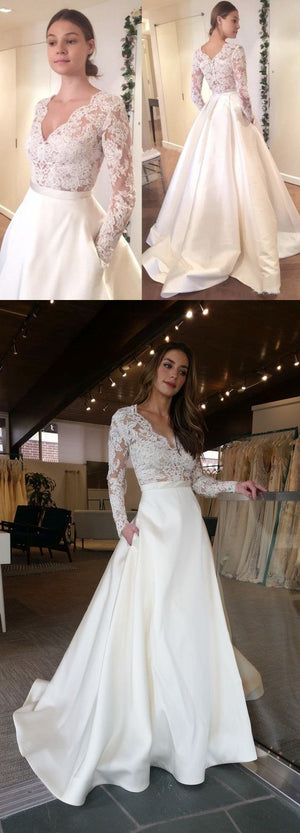 Elegant Long Sleeves V-Neck Top Lace Simple Long Wedding Dresses, Party Dress, Evening  Dresses ,WD0345