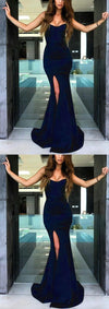 Elegant Long Strapless Bodice Corset Leg Split Mermaid Evening Prom Dresses,evening dress, PD0967