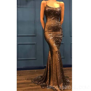 Elegant Sparkly Straps Mermaid Long Sparkly Unique Deign Sexy  Prom Dresses, PD1155