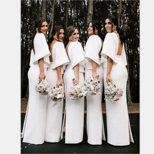 Fashion Unique Design Deep V-Neck Floor Length White Satin Bridesmaid Dresses with Long Sleeves , WG395