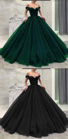 Fashionable Burgundy Blue Black Green Off the Shoulder Modest Prom Dresses, Prom Gown,PD1058