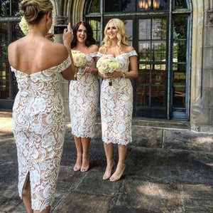 Full Lace Cheap  Mermaid Sexy Off Shoulder Short Ivory Lace Bridesmaid Dress with Slit , WG283