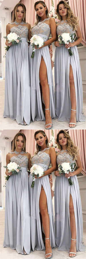 Glamorous A-Line Top Lace Chiffon Cheap Split High Neck Bridesmaid Dresses,WG377