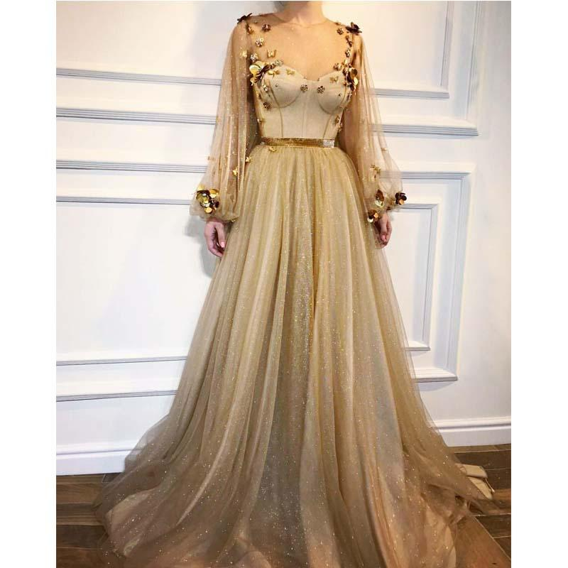 Gold Elegant Sparkly Long Sleeves Round Neck  A-line Prom Dresses, evening dress, party dress , PD1078