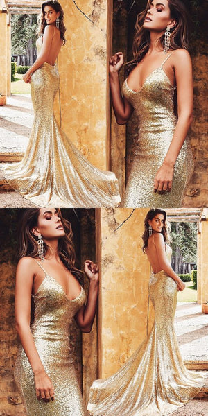 Gold Simple Cheap Modest Mermaid Spaghetti Straps Backless Sequined Prom Dresses, PD0969