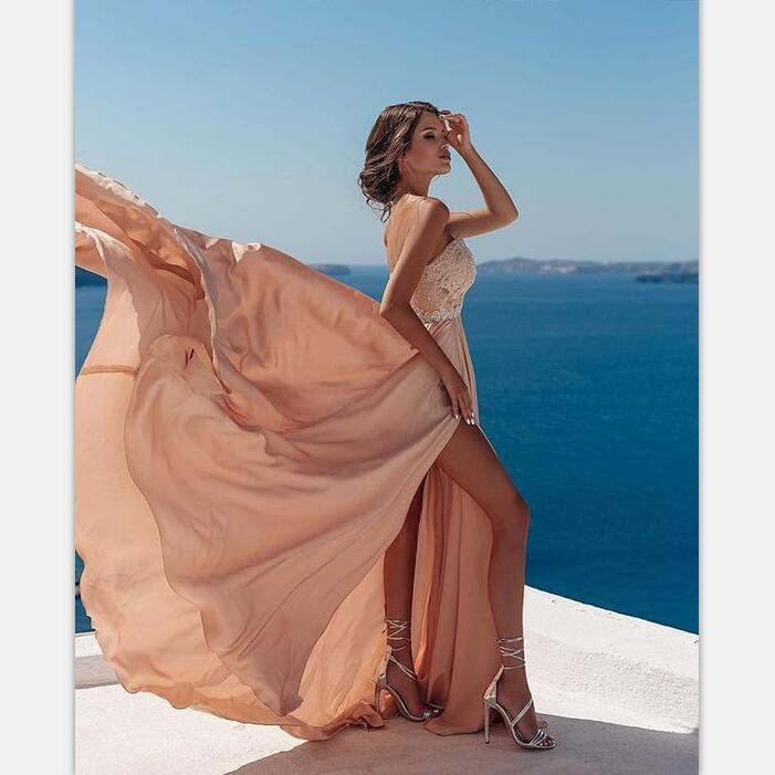 Gorgeous A Line Backless Spaghetti Straps Slit Chiffon Long Prom Dresses with Appliques, PD0970