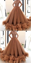 Gorgeous Cap Sleeves A-line Tulle Modest Unique Party Prom Dresses,PD1028