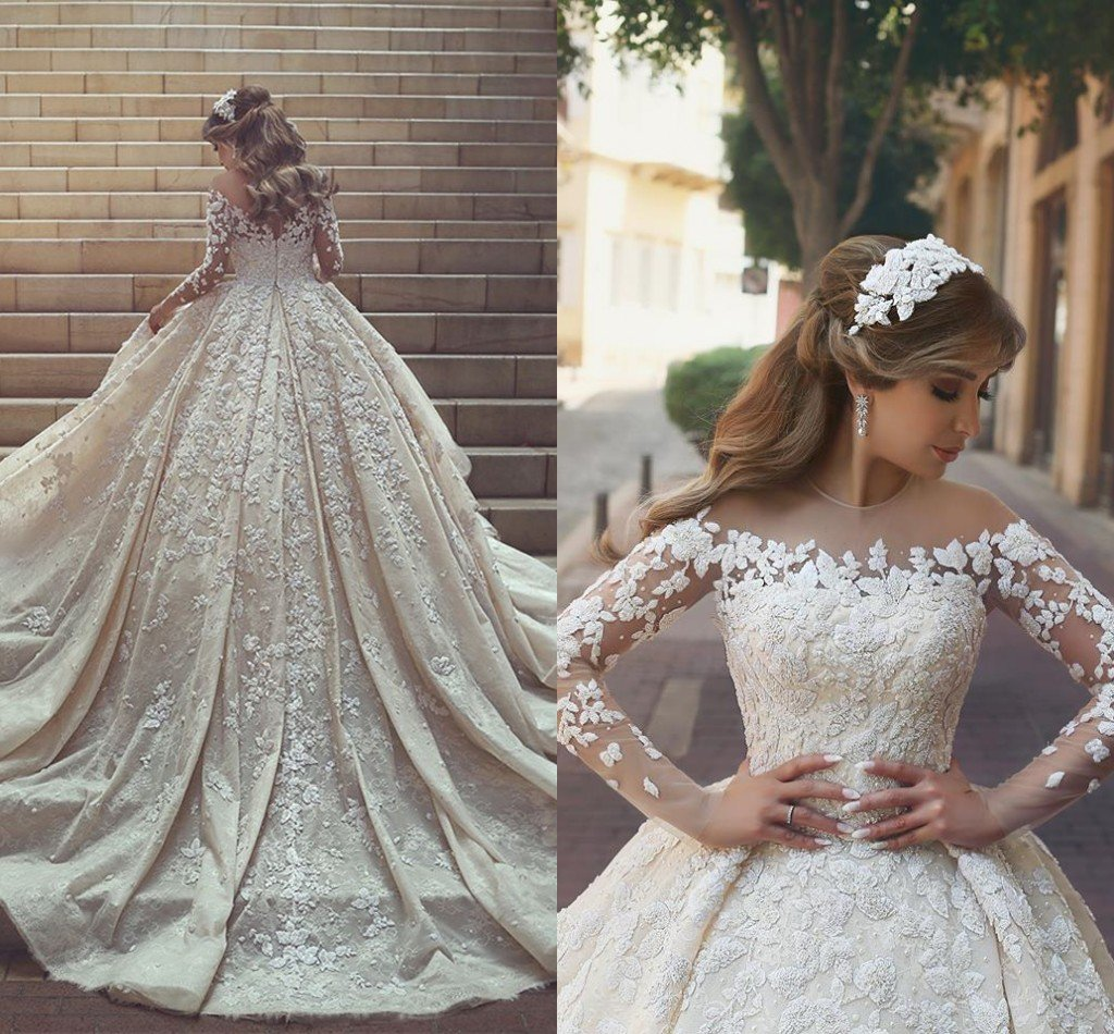 Gorgeous Crystal Appliques Wedding Dress ,2018 Tulle Long Sleeves Bridal Gowns,WD0346