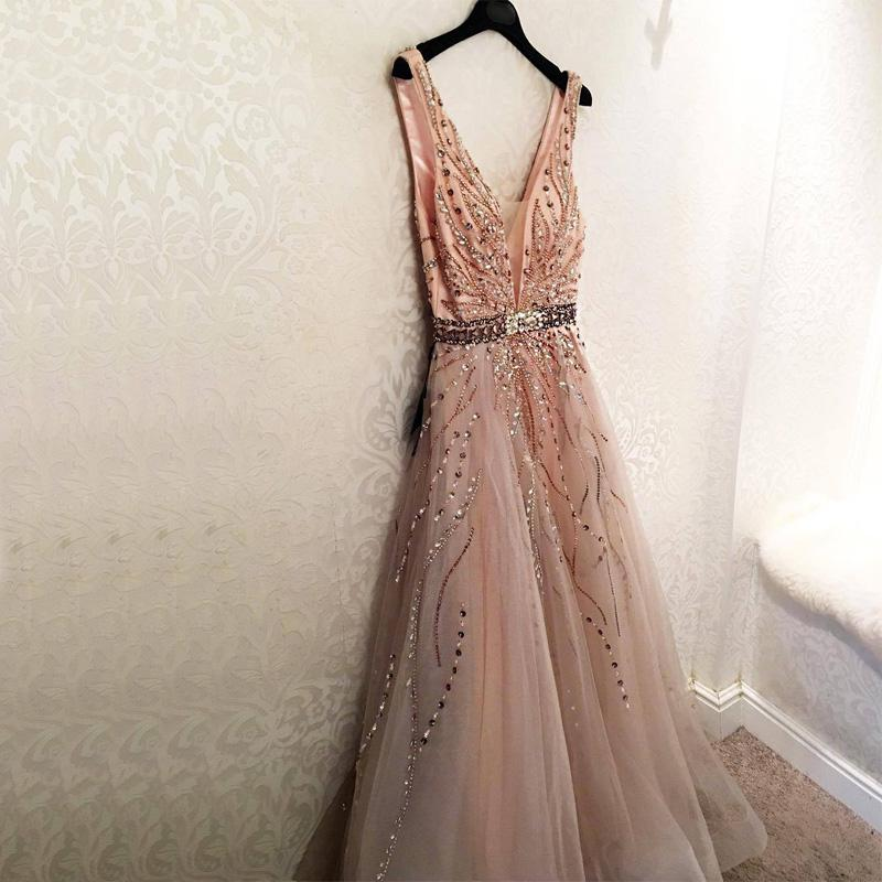Gorgeous Stunning Sparkly Unique Modest Fashion Young  V-neck Neckline A-line Prom Dresses With Beadings, PD0803
