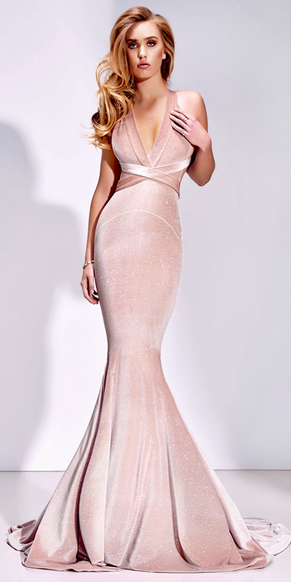18cad6a20f0 Gorgeous V Neck Mermaid Pink Velvet Elegant Sexy Long Prom Dresses ...