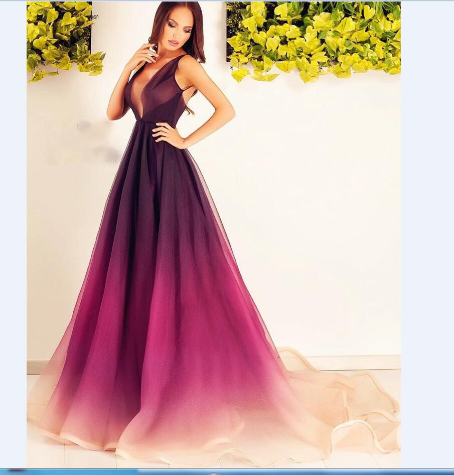 2019 Gradient ombre deep V-neck Best Sale Prom Dresses. Ombre color from burgundy to peach, PD0910 - SposaBridal