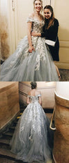 Gray Off  the Shoulder Lace Appliques Fairy Long Charming Prom Dresses, PD0920