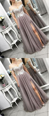 Gray Tulle Lace Long Off The Shoulder Side Split Modest Prom Dress,  evening dress, PD0921