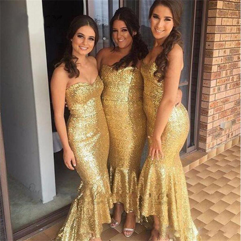 Long Yellow Sequin Sparkly Mermaid Sweetheart Free Custom Cheap  Bridesmaid Dresses ,wedding guest dresses , PD0252