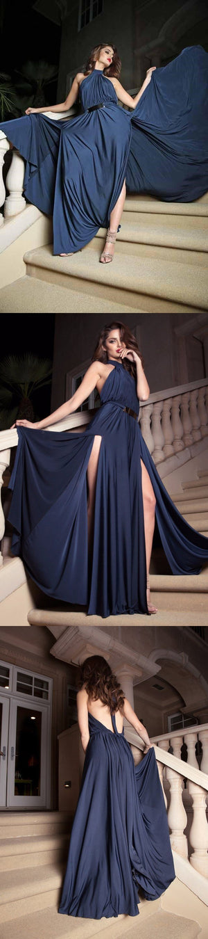 Halt Sexy Newest Blue Split Simple Modest Prom Dresses, Hot Sale Evening dresses, PD0804