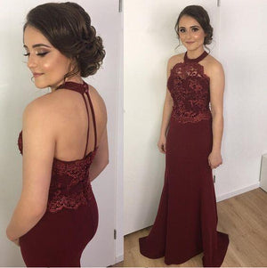 Halter Lace Mermaid Floor-Length Cheap Modest Prom Dresses, Evening Dress PD0829