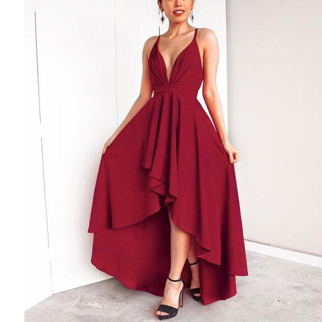 High-Low Chiffon Cheap Simple Burgundy Prom Dresses, evening dress,PD0928