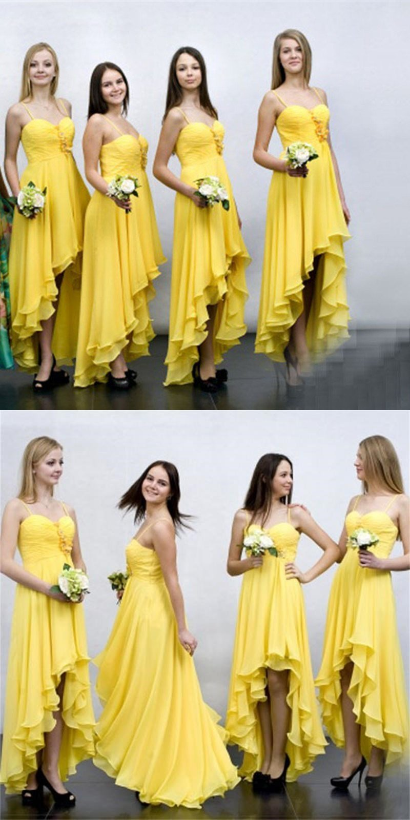 High Low Beach Yellow Long  Cheap Chiffon Spaghetti Straps Unique Design Bridesmaid Dresses  ,WG362