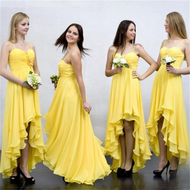 Spoabridal/High Low Beach Yellow Long  Cheap Chiffon Spaghetti Straps Unique Design Bridesmaid Dresses  ,WG362