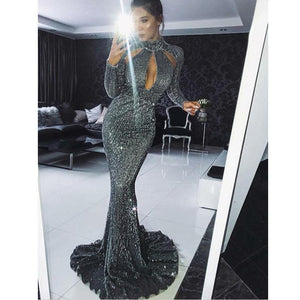 High Neck Cut Out Grey Sequined Mermaid Sexy Long Sleeve ELegant Unique Modest Formal Prom Dresses, PD1233