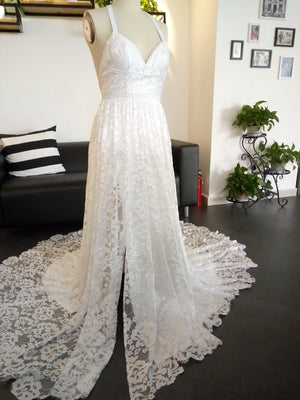 2019 Charming Lace Long A-line Fashion Spaghetti Straps Wedding Dress, New Unique Design Bridals Dresses,  PD0309