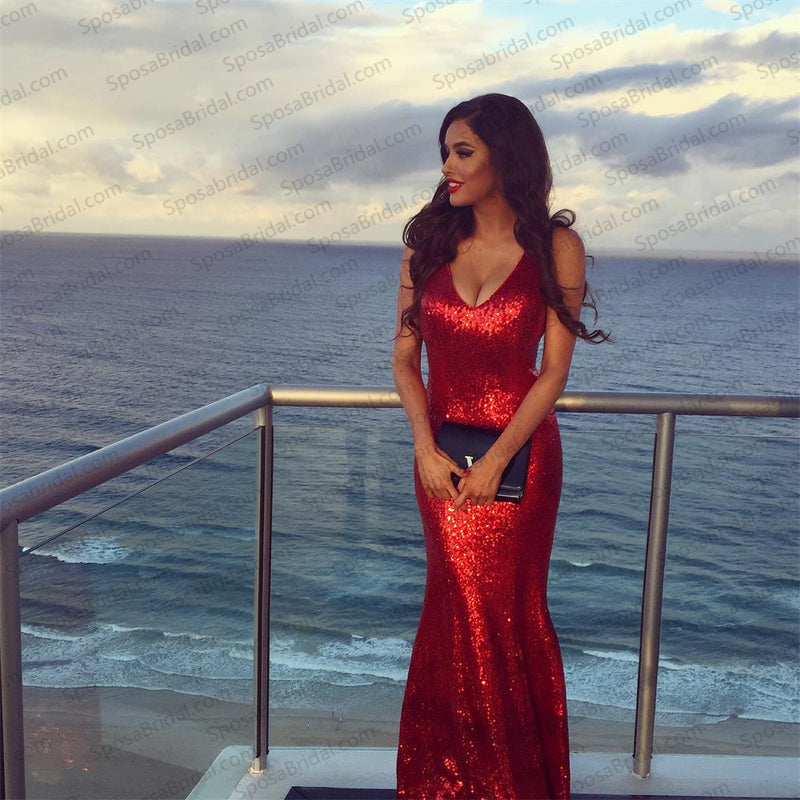 Red Sequin Mermaid Prom Dress, Fashion Sexy Elegant Prom Dresses, Evening Dress, PD0316
