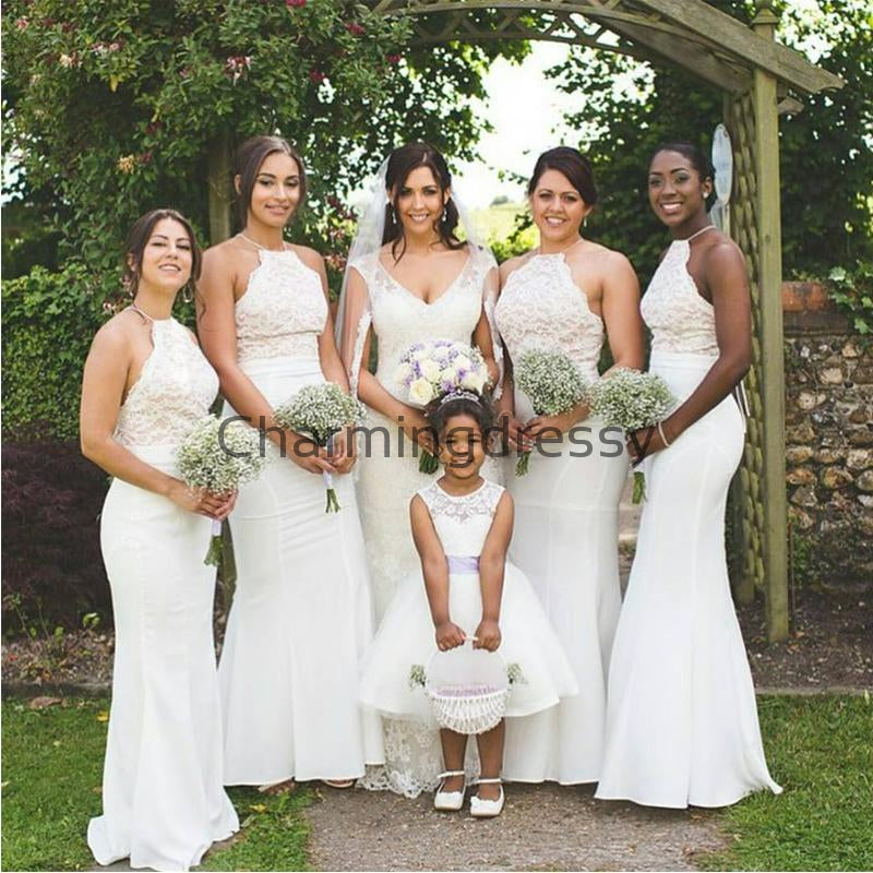 Ivory Halter Mermaid Elegant Top Lace Long Bridesmaid Dresses WG880
