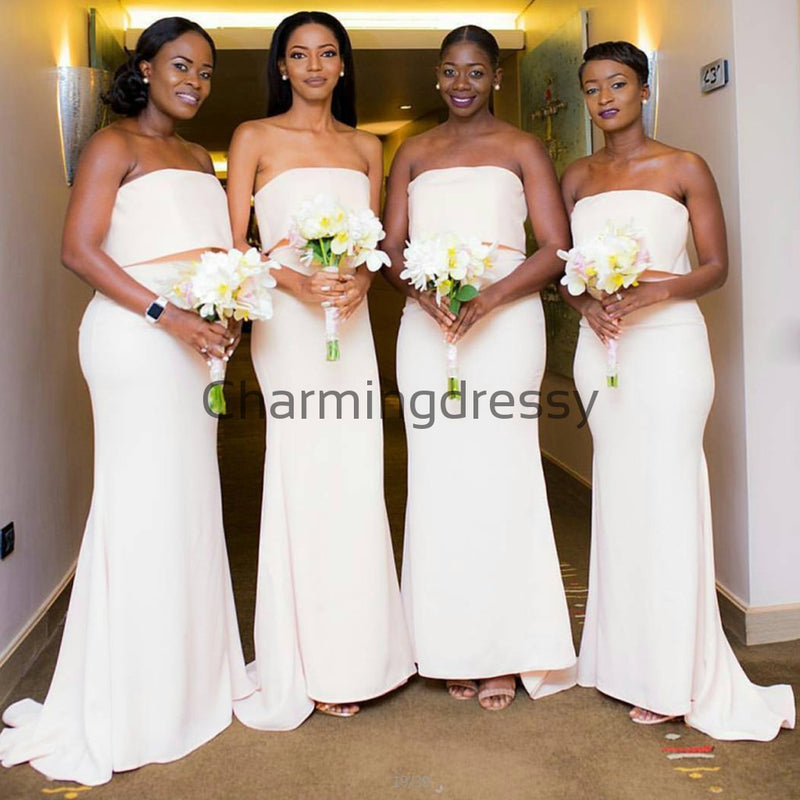 Ivory Mermaid Unique Elegant Long Bridesmaid Dresses WG881