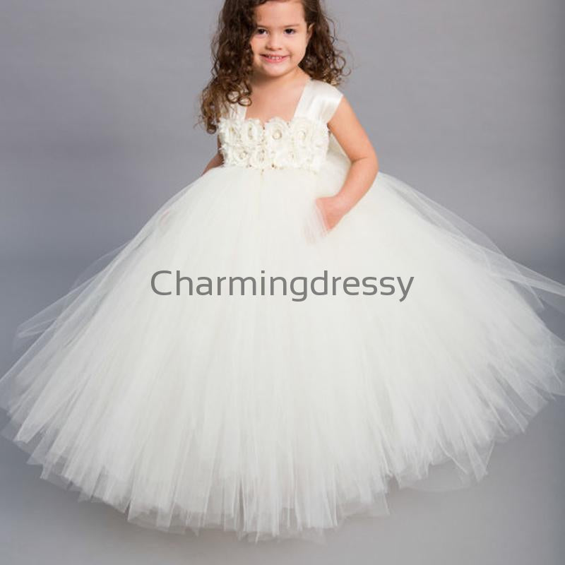 Ivory Tulle Cute Unique Lovely Custom Flower Girl Dresses, FG135