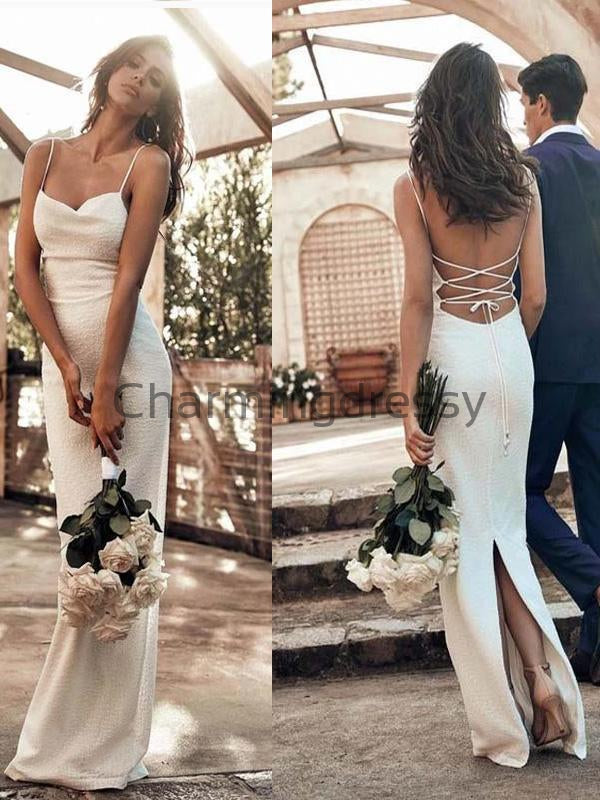 Ivory Unique Spaghetti Straps Modest Prom Dresses, Fashion Wedding Dresses WD0458