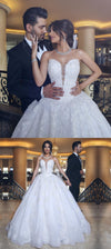 Lace Appliques Sweetheart Tulle Wedding Dresses, Princess Fashion A-Line Ball Gown with beads, WD0301