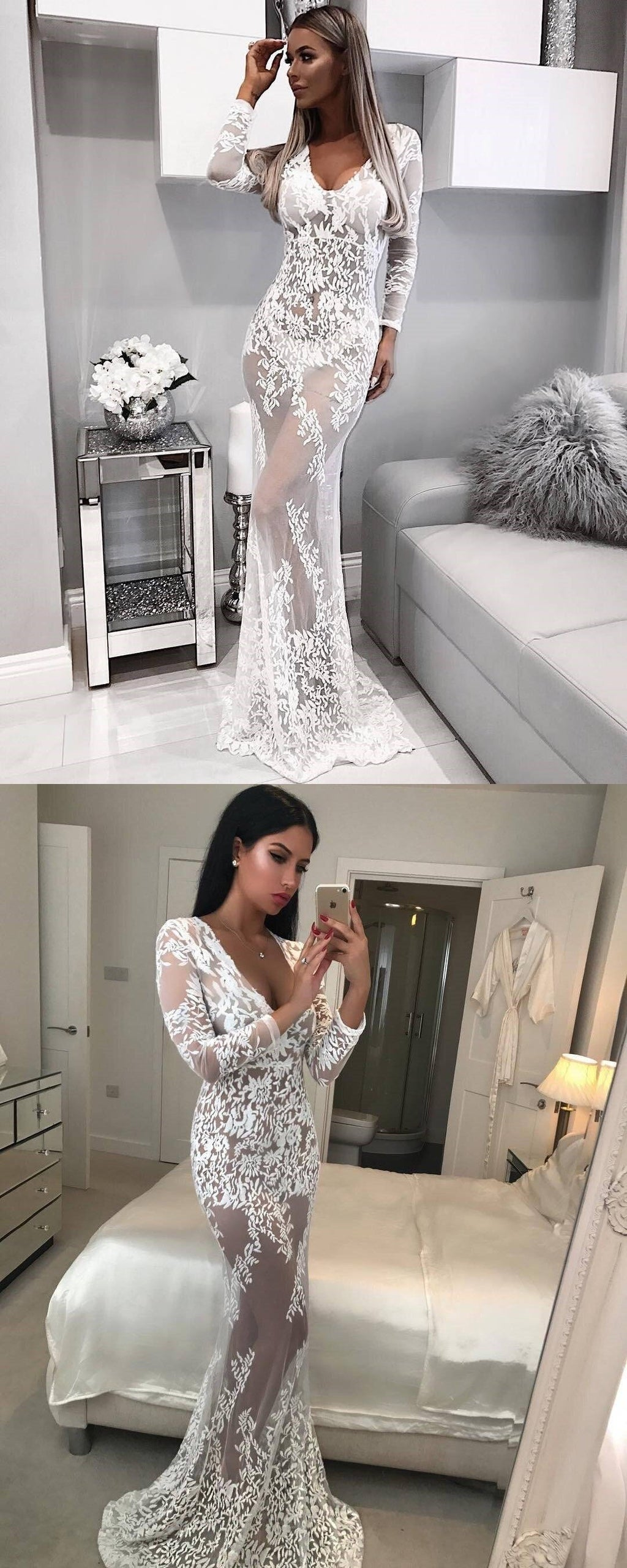 Lace Mermiad Sexy Long Sleeves See-Through Elegant Unique Modest Cheap Prom Dresses,WD0303