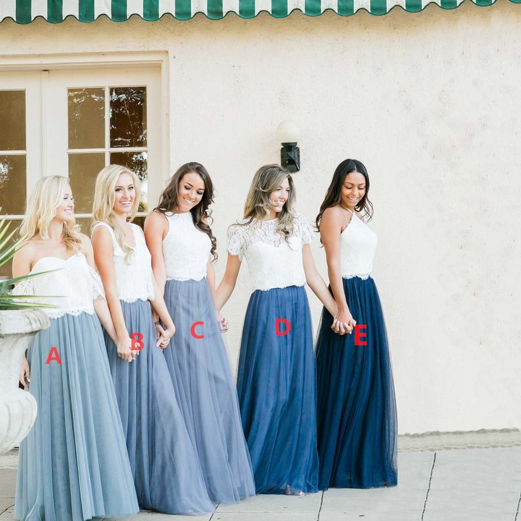 Lace Top Two Pieces Blue Tulle  Long Mismatched  Cheap Most Popular Bridesmaid Dresses,WG354
