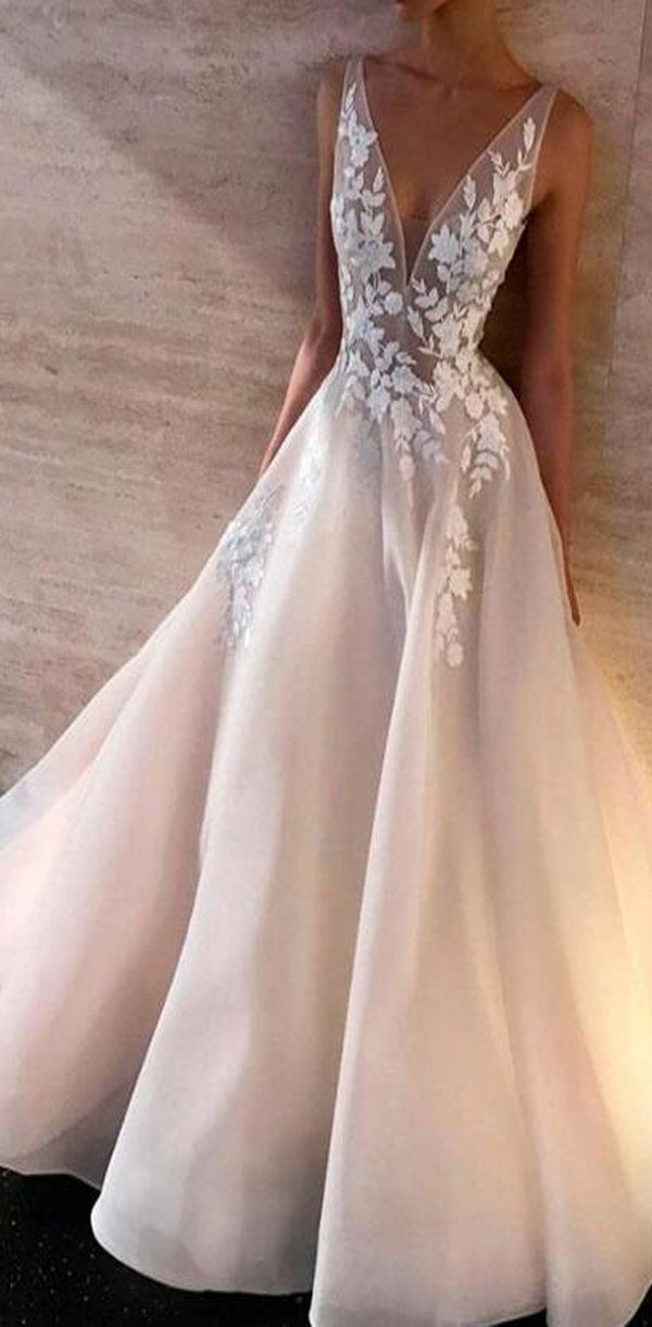 Lace V-neck A-line Most Popular Discount Prom Dresses, prom dress,PD0917