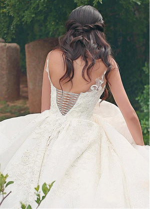 Lace V-neck Neckline Wedding Dresses With Lace Appliques, Free Custom Handmade Bridal Gwons,WD0348
