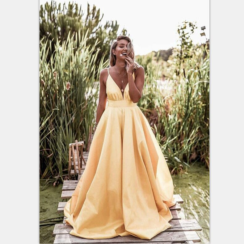 Light Pastel Yellow Sexy Spaghetti Straps V-neck Long Empire Prom Dresses, PD0951