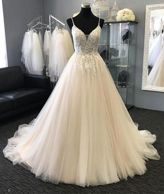 77542a0128bc5 Light Charming Tulle Lace Long Prom Dresses, Evening dresses, Formal  Charming Free Custom Pretty