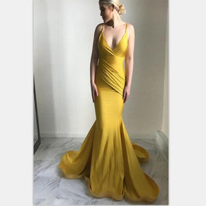 Long Charming Mermaid Spaghetti Straps Sweep Train Ruched Yellow Satin Prom Dresses, PD0869