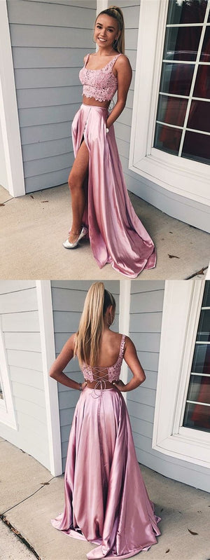 Long Cheap Two Piece Square Lace-Up Pink Split Prom Dresses with Lace Pockets, PD0981