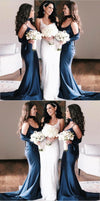 Long Elegant Formal Cheap Modest Mermaid Spaghetti Straps Navy Sexy Bridesmaid Dresses with train, WG285
