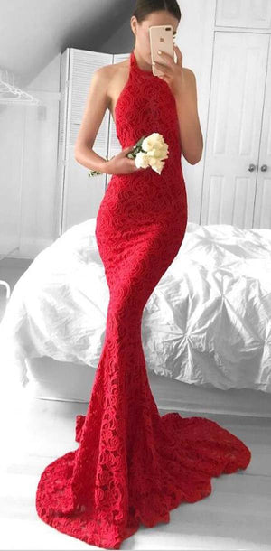 Long Elegant Sexy Mermaid Halter Sleeveless Sweep Tarin Backless Red Lace Prom Dresses, PD1080